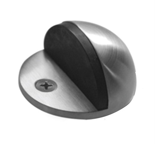 Half Dome Floor Mount Door Stop, Brushed Satin Stainless Steel
