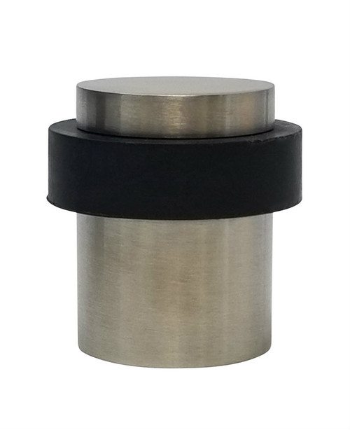 Round Floor Mount Door Stop 04 , Brushed Satin Stainless Steel