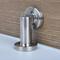 Round Face Magnetic Door Stop with hidden screw mounts (Stainless Steel Brushed Satin Finish) mockup on wood door