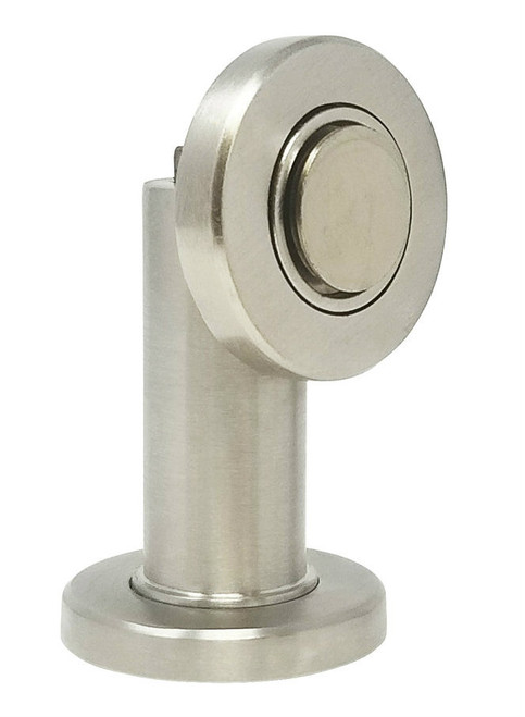 Round Face Magnetic Door Stop with hidden screw mounts (Stainless Steel Brushed Satin Finish)