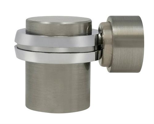 Floor-Mounted Flat Top Magnetic Door Stop with hidden screw mounts (Brass Satin Nickel Finish)