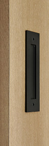 Flush Plate - Door Handle for Wood doors (Black Powder Stainless Steel Finish)