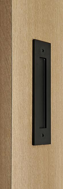 Flush Plate - Door Handle for Wood doors (Black Powder Stainless Steel Finish)