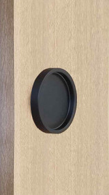 "Round Handle Back-to-Back - 2.5"" Diameter - For Wood and Glass Doors (Black Powder Stainless Steel Finish) mockup on wood door"