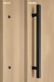 One Sided Ladder Pull Handle with with Decorative Thru-Bolt End Cap (Black Powder Stainless Steel Finish)