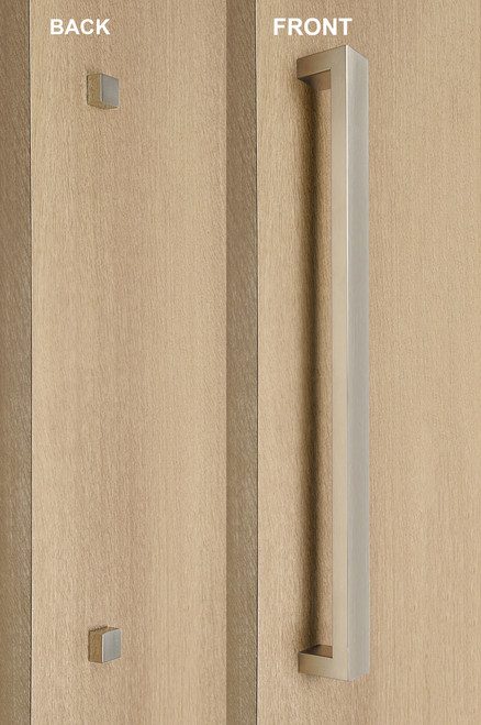 """One Sided 1.5"""" x 1"""" Rectangular Pull Handle with Decorative Thru-Bolt End Cap, Brushed Satin US32D/630 Finish, 304 Grade Stainless Steel Alloy mockup on wood door"""