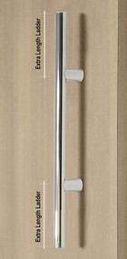 Extra Length Ladder Style Back-to-Back Push-Pull Door Handle (Polished Stainless Steel Finish) mockup on wood door