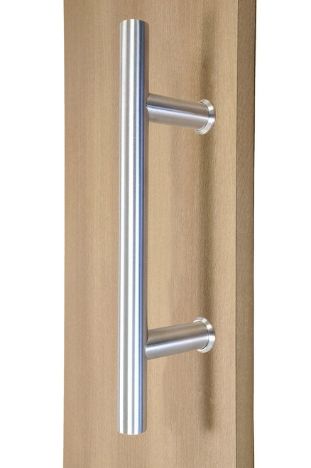 "10"" Ladder Style Back-to-Back Pull Handle,  3/4"" diameter (Brushed Satin Stainless Steel Finish) mockup on wood door"