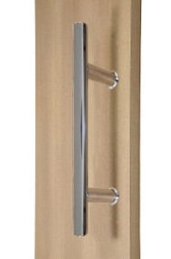"10"" Ladder Style Back-to-Back Pull Handle,  3/4"" diameter (Polished Stainless Steel Finish) mockup on wood door"