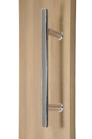 "12"" Ladder Style Back-to-Back Pull Handle,  3/4"" diameter (Polished Stainless Steel Finish) mockup on wood door"
