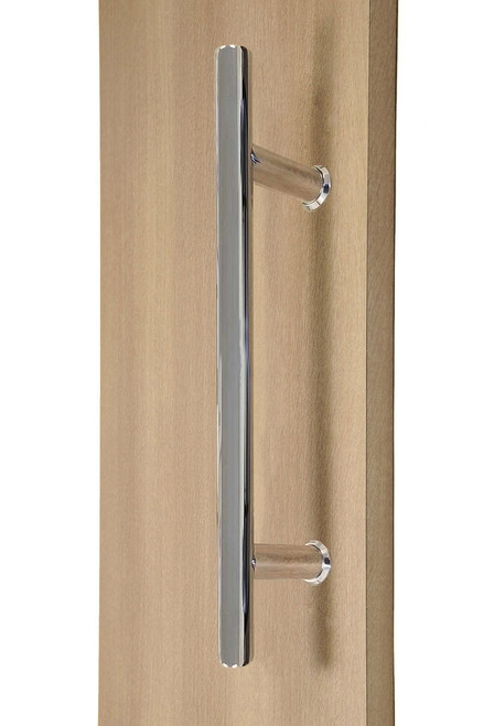 """12"""" Ladder Style Back-to-Back Pull Handle,  3/4"""" diameter (Polished Stainless Steel Finish) mockup on wood door"""