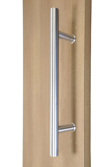"12"" Ladder Style Back-to-Back Pull Handle,  3/4"" diameter (Brushed Satin Stainless Steel Finish) mockup on wood door"