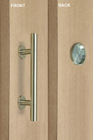 Pull and Round Flush Door Handle Set (Brushed Satin Stainless Steel Finish) mockup on wood door