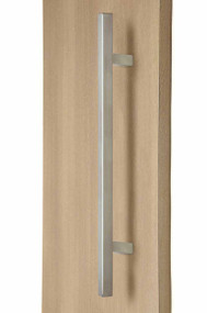"1"" x 1"" Square Ladder Pull Handle - Back-to-Back (Brushed Satin Stainless Steel Finish) mockup on wood door"