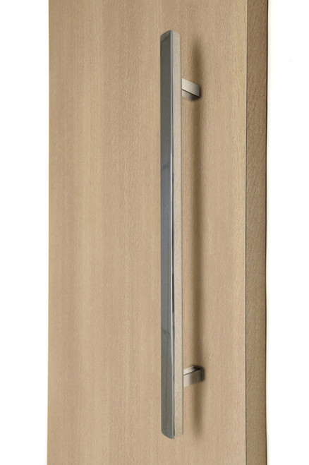 "1"" x 1"" Square Ladder Pull Handle - Back-to-Back (Polished Stainless Steel Finish) mockup on wood door"