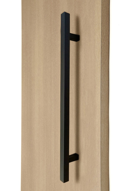 "1"" x 1"" Square Ladder Pull Handle - Back-to-Back (Black Powder Stainless Steel Finish) mockup on wood door"