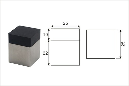 Product Dimensions Door Bumper - Square - 02 (Polished)