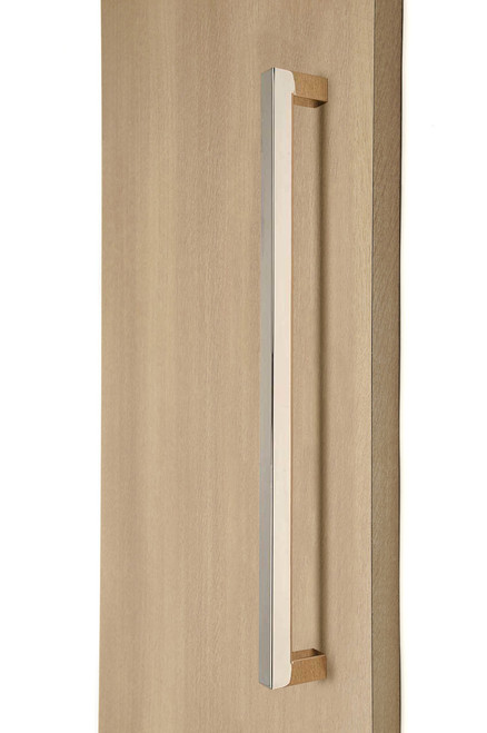 "1"" x 1"" Square  Pull Handle - Back-to-Back  (Polished Stainless Steel Finish) mockup on wood door"