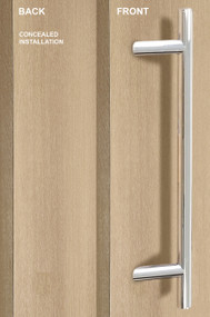 One Sided 45º Offset Ladder Pull Handle with Concealed Fixing (Polished Stainless Steel Finish)