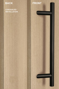 One Sided 45º Offset Ladder Pull Handle with Concealed Surface Mount (Black Powder Stainless Steel Finish)