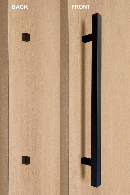 """One Sided 1"""" x 1"""" Square Ladder Pull Handle with Decorative Thru-Bolt End Cap, Matte Black Powder Coated Finish, 304 Grade Stainless Steel Alloy mockup on wood door"""