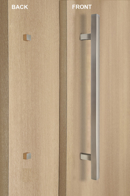 "One Sided 1"" x 1"" Square Ladder Pull Handle with Decorative Thru-Bolt End Cap, Brushed Satin US32D/630 Finish, 304 Grade Stainless Steel Alloy mockup on wood door"