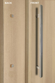 "One Sided 1"" x 1"" Square Ladder Pull Handle with Decorative Thru-Bolt End Cap (Polished Stainless Steel Finish)"
