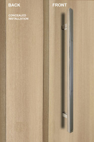 "One Sided 1"" x 1"" Square Ladder Pull Handle with Concealed Surface Mount, Polished US32/629 Finish, 304 Grade Stainless Steel Alloy"