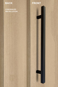 """One Sided 1"""" x 1"""" Square Ladder Pull Handle with Concealed Surface Mount (Black Powder Stainless Steel Finish)"""