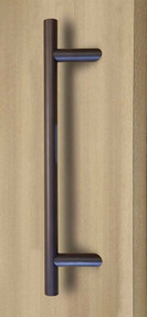 45º Offset Ladder Pull Handle - Back-to-Back (Bronze Stainless Steel Finish) mockup on door