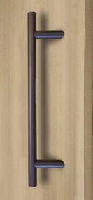 45º Offset Ladder Pull Handle - Back-to-Back (Bronze Stainless Steel Finish) mockup on door