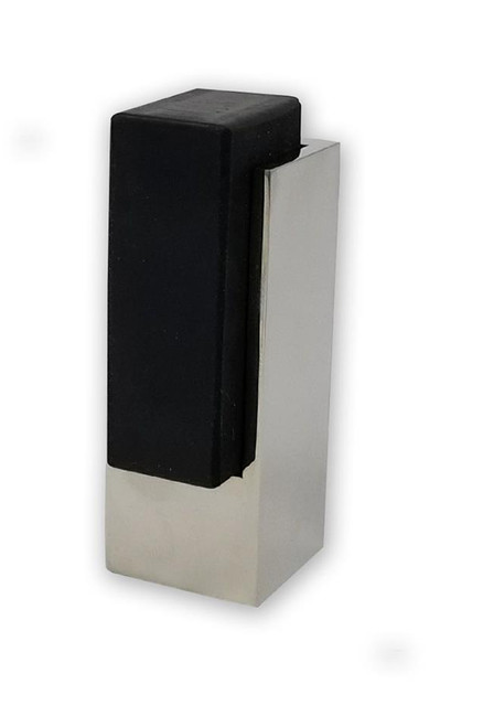 Tall Square Door Stop 04 , Polished Stainless Steel