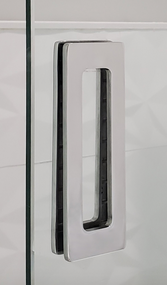 "Rectangular Sliding Door Handle - 6"" x 2"" Back-to-Back  for Glass doors (Polished Stainless Steel Finish) mockup on glass door"