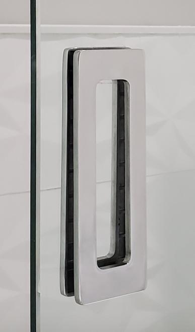 "Rectangular Sliding Door Handle - 6"" x 2"" Back-to-Back  for Glass doors (Polished Stainless Steel Finish) mockup on glass door"