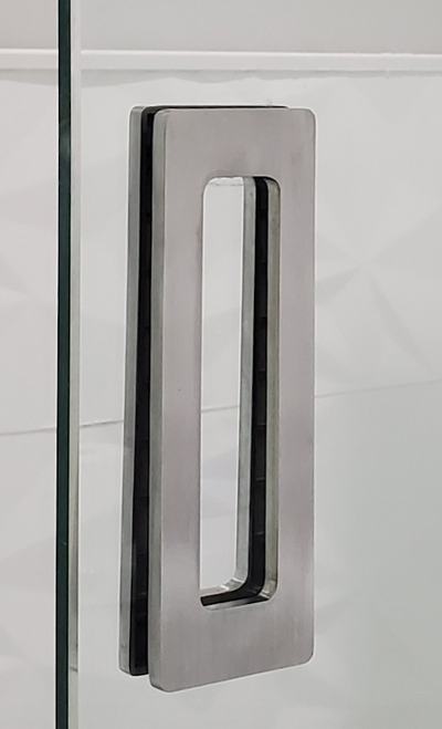 "Rectangular Sliding Door Handle - 6"" x 2"" Back-to-Back  for Glass doors (Brushed Satin Stainless Steel Finish) mockup on glass door"