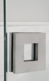 "Square Sliding Door Handle - 3"" x 3"" Back-to-Back for Glass doors (Brushed Satin Stainless Steel Finish) mockup on glass door"