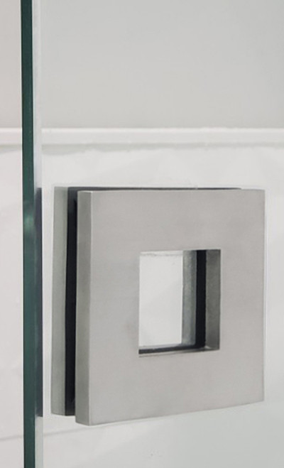 """Square Sliding Door Handle - 3"""" x 3"""" Back-to-Back for Glass doors (Brushed Satin Stainless Steel Finish) mockup on glass door"""