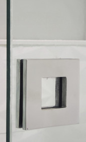 "Square Sliding Door Handle - 3"" x 3"" Back-to-Back for Glass doors (Polished Stainless Steel Finish) mockup on glass door"