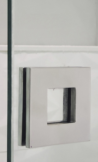 """Square Sliding Door Handle - 3"""" x 3"""" Back-to-Back for Glass doors (Polished Stainless Steel Finish) mockup on glass door"""