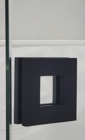 "Square Sliding Door Handle - 3"" x 3"" Back-to-Back for Glass doors (Black Powder Stainless Steel Finish)"