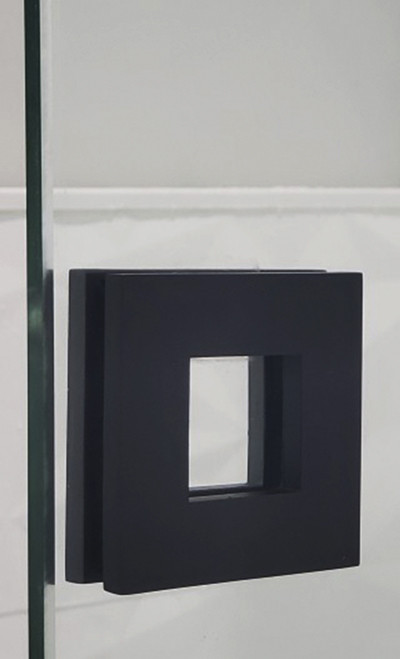 """Square Sliding Door Handle - 3"""" x 3"""" Back-to-Back for Glass doors (Black Powder Stainless Steel Finish)"""