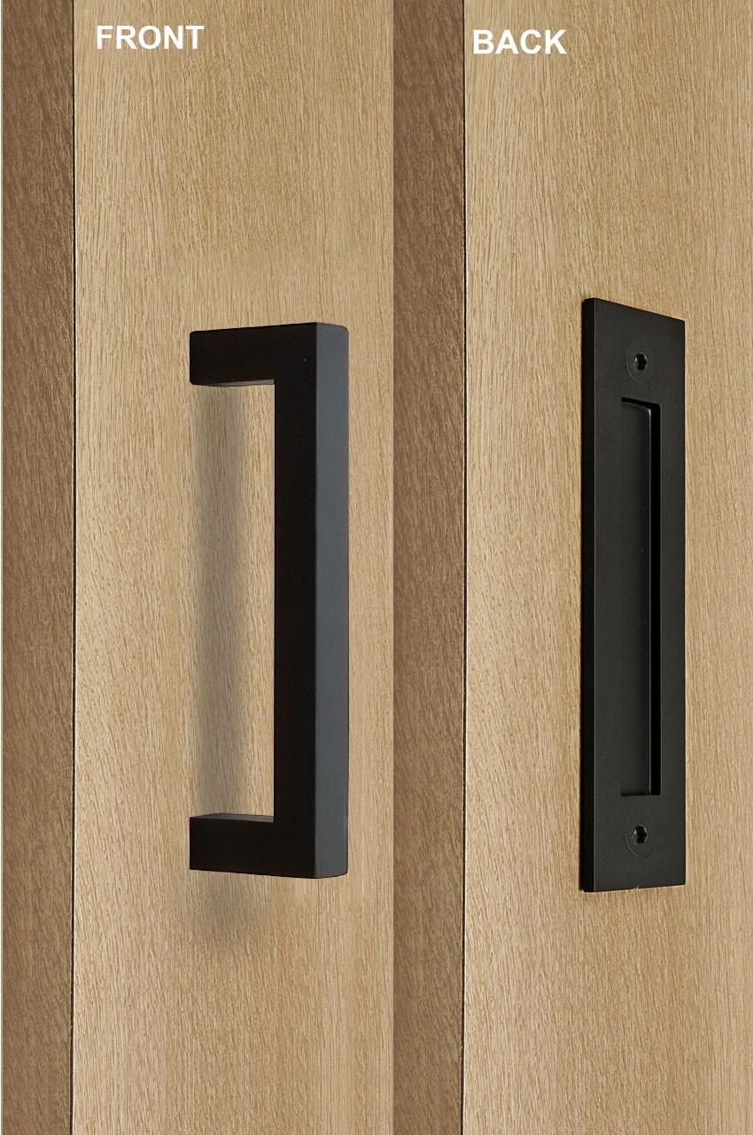 barn door pull and flush rectangular door handle set (black powder stainless steel finish)