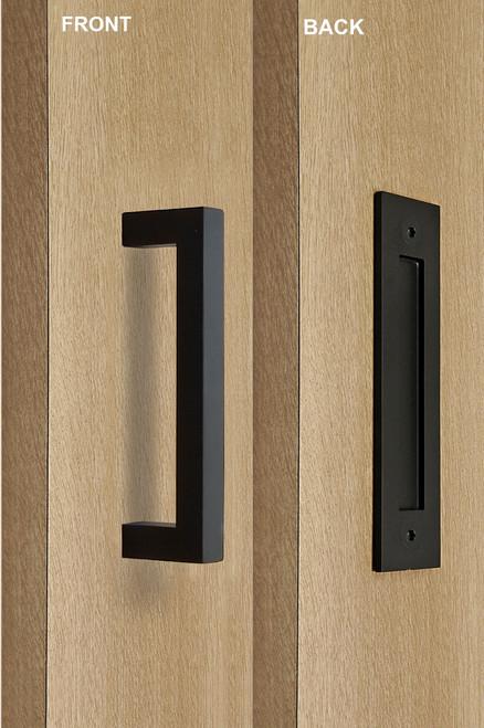 Barn Door Pull and Flush Rectangular Door Handle Set (Black Powder Stainless Steel Finish) mockup on door