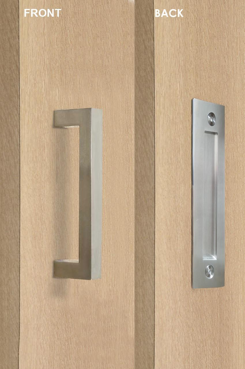 Pull And Flush Rectangular Door Handle Set Satin Finish