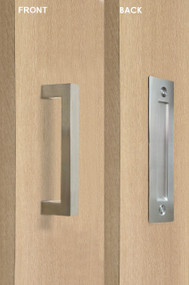Barn Door Pull and Flush Rectangular Door Handle Set  (Brushed Satin Stainless Steel Finish) mockup on door
