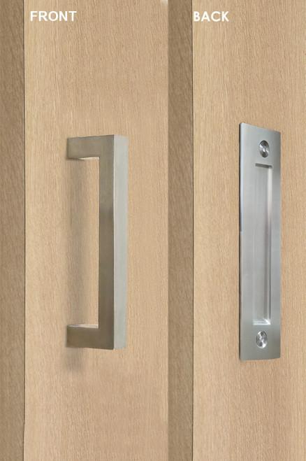 Barn Door Pull and Flush Rectangular Door Handle Set  (Brushed Satin Stainless Steel Finish) mockup on door