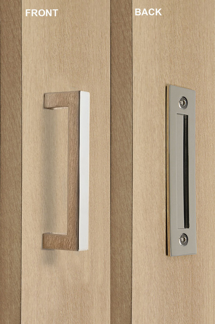 Barn Door Pull and Flush Rectangular Door Handle Set  (Polished Stainless Steel Finish) mockup on door