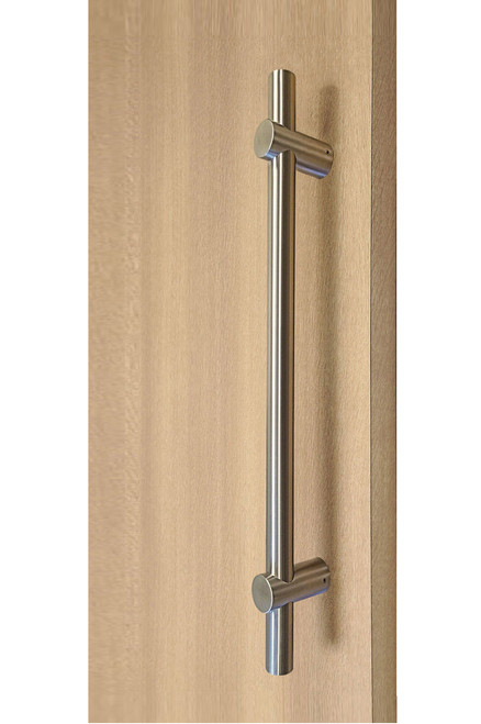 Adjustable Ladder Pull Handle - Back-to-Back (Brushed Satin Stainless Steel Finish) mockup on door