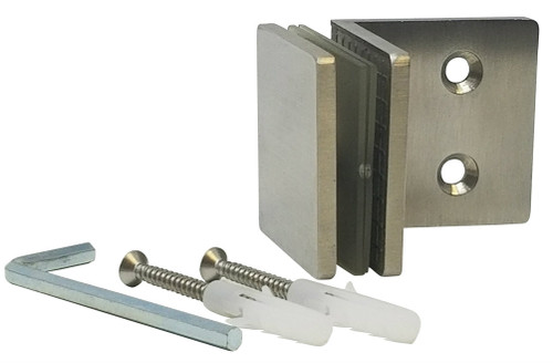 90 Degree Fixed Panel Square Clamp  (Brushed Satin Stainless Steel Finish)
