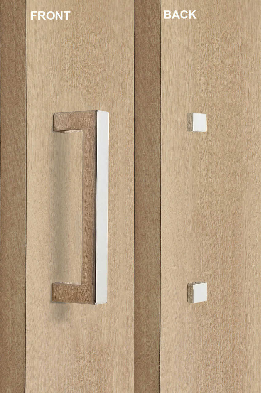 Barn Door Pull And Flush Rectangular Door Handle Set With Decorative Fixings Polished Chrome Finish